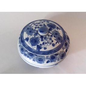 Centro Potiche De Mesa En Ceramica Azul Almacen De Objetos