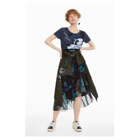 Falda Dama Textil Negro/verde Desigual