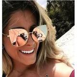 Óculos Escuros Sol Feminino Espelhado Metal Rosa Gatogatinho 963fc456e3