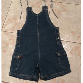 Macacão Jeans Feminino Curto Cambos Tamanho P- Usado