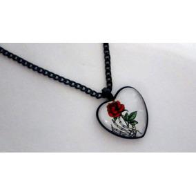 Colar Coração Vidro Skeleto Rose Frete Grátis Correntinha