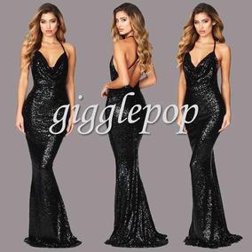 Vestido Largo Negro Lentejuela Sirena Barato Noche Elegante