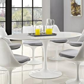 Mesa Jantar Oval Saarinen 1,80x1.00 Branco Esp. + 6 Cadeiras