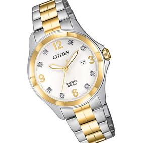 Reloj Dama Citizen Eu6084-57a Cuarzo 2 Tonos Con Cristales