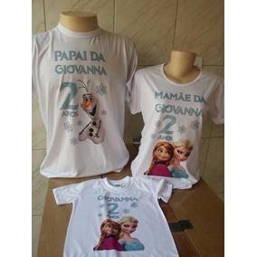 Kit Família 8 Camisetas Personalizadas Frozen Princesas 8172ac69b80