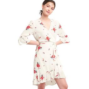 Vestido Estampado Floral Manga 3/4 Volantes Mujer Gap