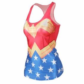 Playera Blusa Gym Wonder Woman Mujer Maravilla Lycra Heroes