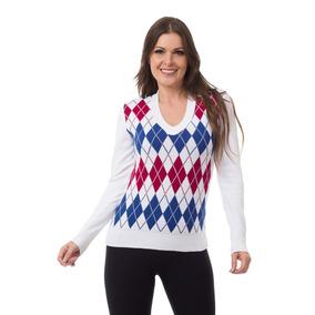 Blusa Sueter Feminino De Tricot Tricô Xadrez Modal Promoção