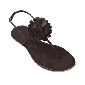 Sandália Flat Feminina Mercedita Shoes Verniz Flor Marrom