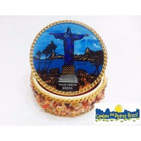 Porta Jóias Cristo Redentor E Pedras Naturais/ Souvenir Br