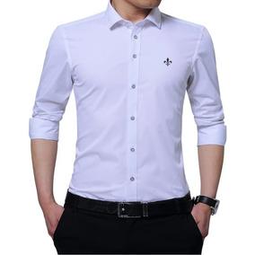Camisa Social Original Masculina Algodão Egipcio Lisa Branca 2182320699