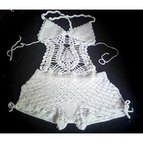 Traje De Baño Tejido Crochet Skay Short Vintage Trikini Xs