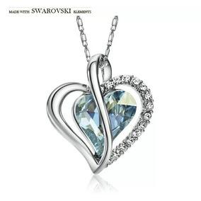 Collar Corazon Azul Swarovski Elements Cristal Certificado