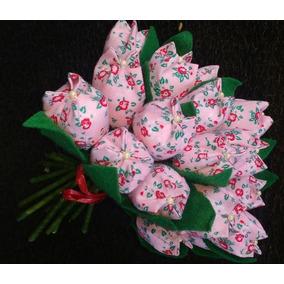 Kit 25 Flor Tulipa Perfumada Em Tecido Embalada Com Tag