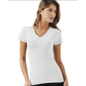 Camiseta Feminina Decote V 100% Algodão - Kit 10 Peças dd9828f9868ab