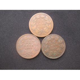 3 Moedas Antiga De Portugal Xx Reis 1882 /1883 E 1884 Bronze