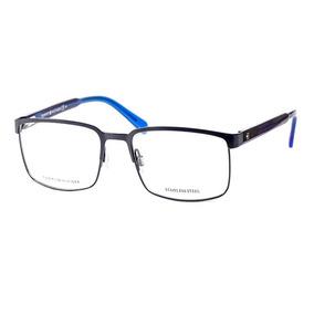 Armação Usada Óculos Tommy Hilfiger Th 1235 Fsw55 Metal Azul. R  115 eb27f0a4cc