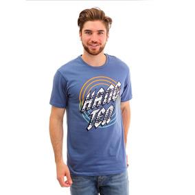 Playera Para Hombre Hang Ten Azul Medio Ht Print