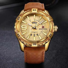 Relógio Original Naviforce Dourado Pulseira De Couro