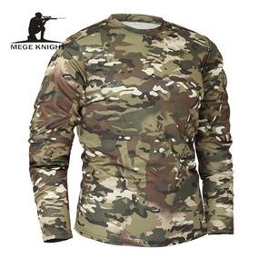 Camiseta Unissex Manga Longa Camuflada Exército Militar Nova