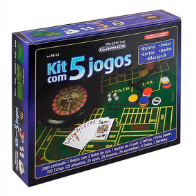 Kit 5 Jogos Poker Roleta Dados Blackjack Cartas + 2 Feltros