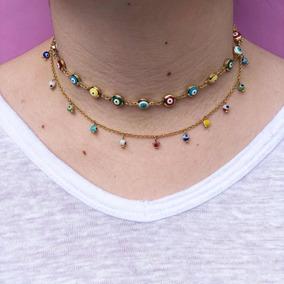 Collar Chapa De Oro Brasileña 14k Ojos Turcos