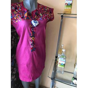 Vestido Mujer Bordado A Mano Flores Hecho Mexico Artesanal R