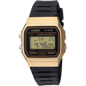 6cbb50e26a9 Relógio Casio F-91w Dourado Retro Alarme Cronometro