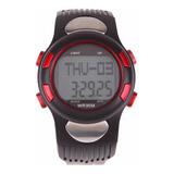 Relógio Pedômetro Passos Km Monitor Cardíaco Vermelho