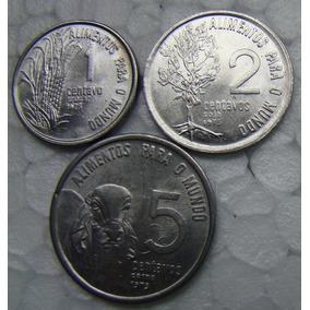 Lote 3 Moedas Antigas Fao 1 2 E 5 Centavos Ano 1975 Raras