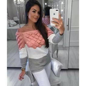 Blusa De La Com Tres Cores Feminina Tricô Bloggueira Inverno