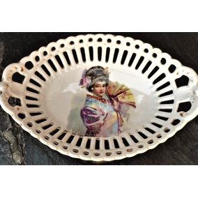 Bellísimo Despojador/caramelera Porcelana Calada Geisha