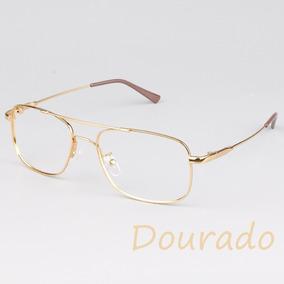 Armação Para Óculos Modelo Aviador Dourado - Óculos no Mercado Livre ... a037a8a5ad