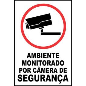 10 Placas 30cmx20cm Monitorado Por Câmera De Segurança Aviso