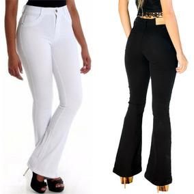 Calça Jeans Feminina Hot Flare Levanta Bumbum Cintura Alta