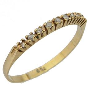 1ff122a423480 1214 Meia Aliança Maravilhosa De Ouro 18k 750 Com Diamante