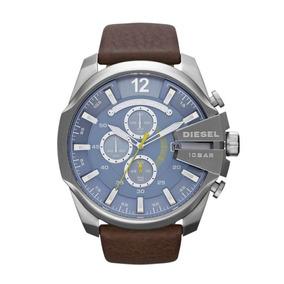 Relógio Diesel Masculino Dz42810an Couro Fundo Azul