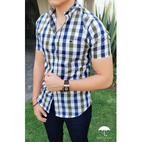 Camisa Slim Fit Cuadros Blanco, Azul Y Olivo - Manga Corta