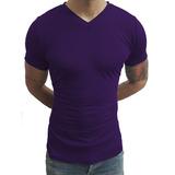 Camiseta Masculina Slim Fit Gola V Rasinha Manga Curta Básic