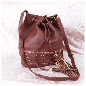 Bolsa Feminina Saco Bucket Bag Tiracolo Marrom 44c4c895eee