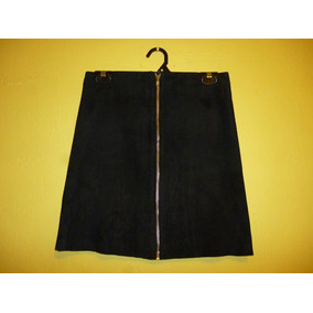 Minifalda Piel Gamuza Color Negro Talla Chica