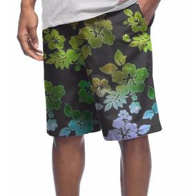 Bermuda Microfibra Reggae Floral Hibisco Galaxia Tumblr Swag