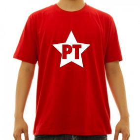 Camiseta Vermelha Pt- Estrela -partido 13 Lula- Força Lula 08443308372