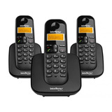Telefone S/fio Ts3113 Preto Base+2ramais Dect Intelbras 6.0
