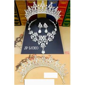 Conjunto Coroa Tiara Colar Noiva 15 Anos Debutante Veu Pente