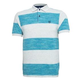 a81f42abc9 Camisa Polo Enrico Rossi Listrada Azul Piscina E Cinza