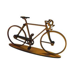Bicicleta Decoratia Amarela Modelo Corrida Madeira