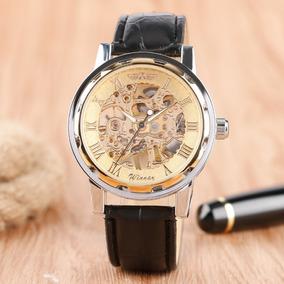 Relógio De Luxo Esqueleto Automático Homens Mulheres + Caixa