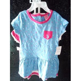 Conjunto De 2 Vestidos Y 1 Pañalero Marca Polo Para Bebé