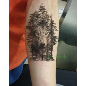 Tatuagem 20x13cm Temporária Lobo Floresta Nº 88